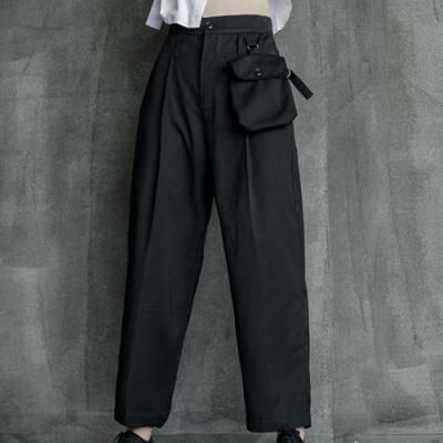 設計所在Style-秋季暗黑風中性口袋裝飾百搭直筒休閒西裝褲