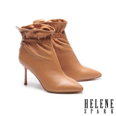 短靴 HELENE SPARK 簡約時尚抓皺全真皮尖頭高跟短靴-駝
