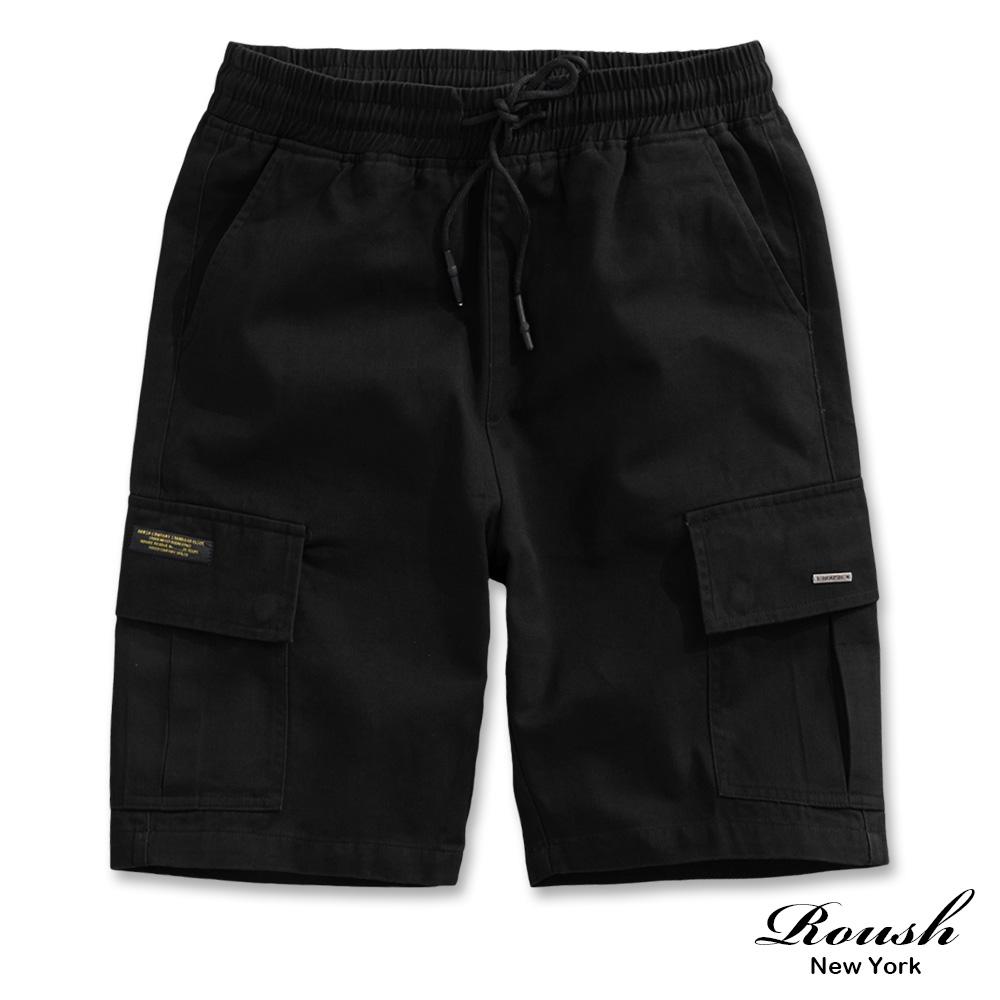 Roush 斜口袋小鐵牌重磅水洗工裝短褲(3色)
