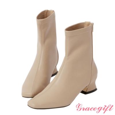 Grace gift-斜車線特殊中跟短靴 駝