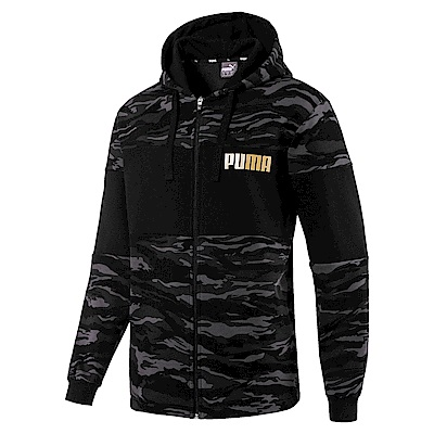PUMA-男性基本系列迷彩刷毛連帽外套-黑色-歐規