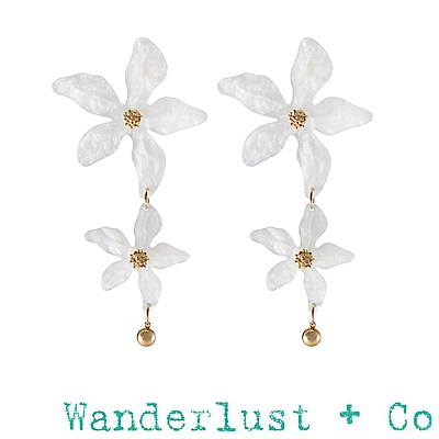 Wanderlust+Co 澳洲品牌 象牙白百合花耳環 加勒比海洋風 LUCIA IVOR