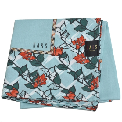 DAKS 經典格紋品牌字母LOGO花朵圖騰大帕領巾(水藍系)