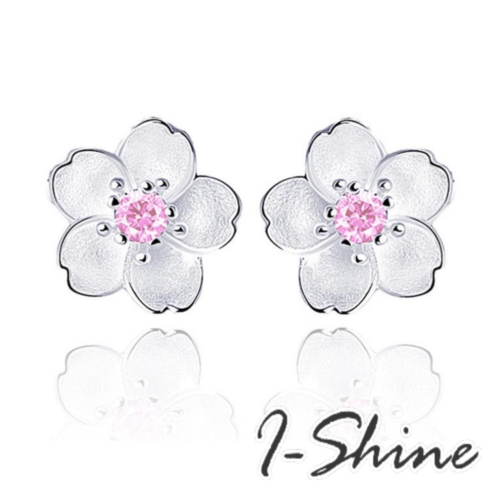 I-Shine-正白K-戀戀櫻花-韓國清新花朵造型鑲鑽耳針耳環DB30