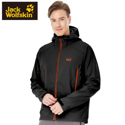 【Jack wolfskin 飛狼】男 Softshell 連帽防風防潑水保暖外套 軟殼衣『黑』