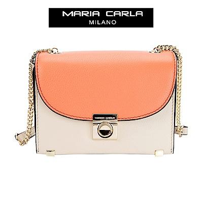 MARIA CARLA 硬挺皮革撞色方型側背包  小生活系列(日光橘)