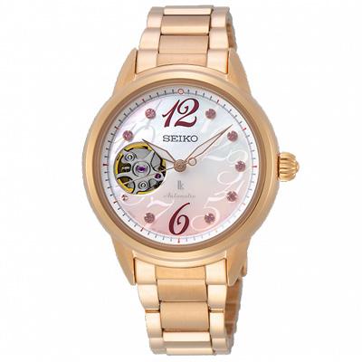 SEIKO精工 LUKIA晶鑽時尚機械手錶 SSA798J1-玫瑰金/34mm