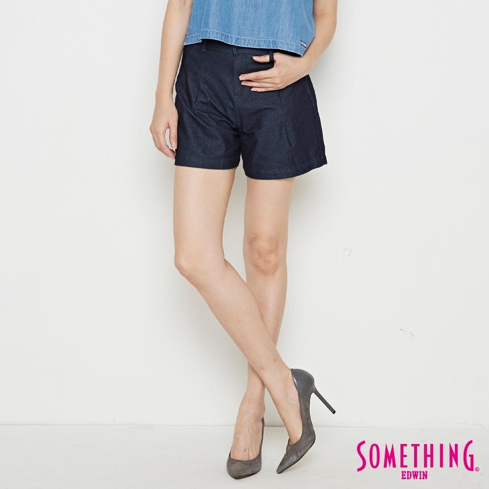 SOMETHING LADIVA 高腰打摺 牛仔短褲-女-原藍色