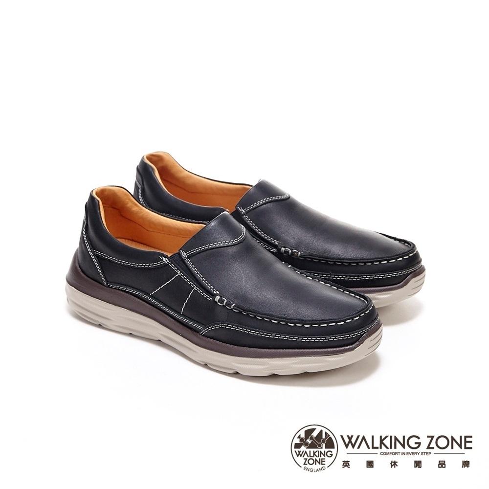 WALKING ZONE 時尚樂福鞋 莫卡辛男鞋-黑 (另有咖)