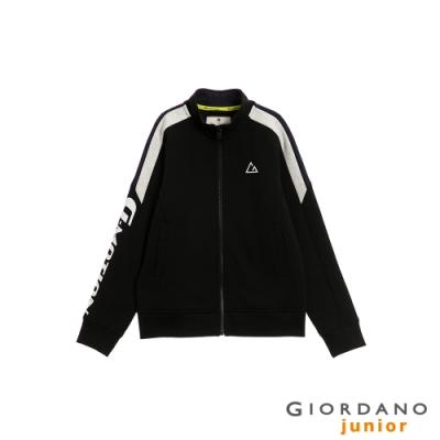 GIORDANO 童裝G-MOTION撞色拼接運動外套-09 標誌黑