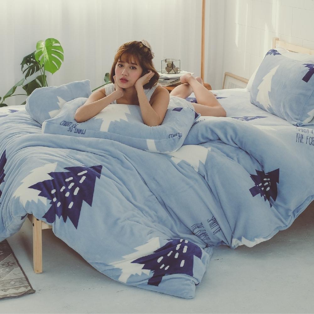 BUHO 極柔暖法蘭絨(6x7尺)標準雙人兩用被套毯(北境森藍)