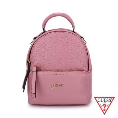GUESS-女包-字母logo壓紋小後背包-粉紅