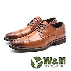 W&M (男)壓紋紳士綁帶皮鞋-咖(另有黑)