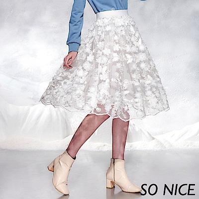 SO NICE優雅花朵網紗過膝裙