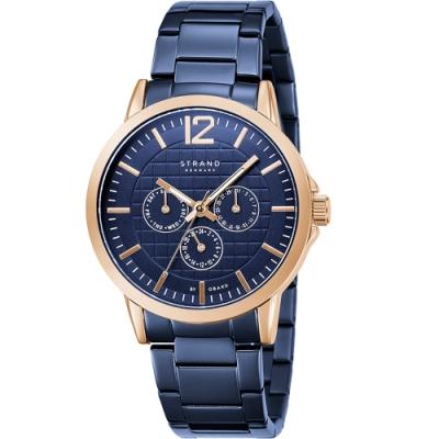 STRAND 丹麥海之星-簡約三眼紳士腕錶 / 玫瑰金藍-44.5mm(S709GMVLSL)