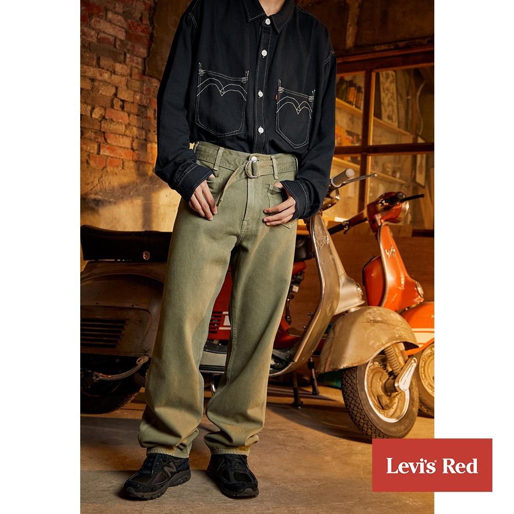 Levis Red 工裝手稿風復刻再造 男款 寬直筒工作褲 軍綠 寒麻纖維