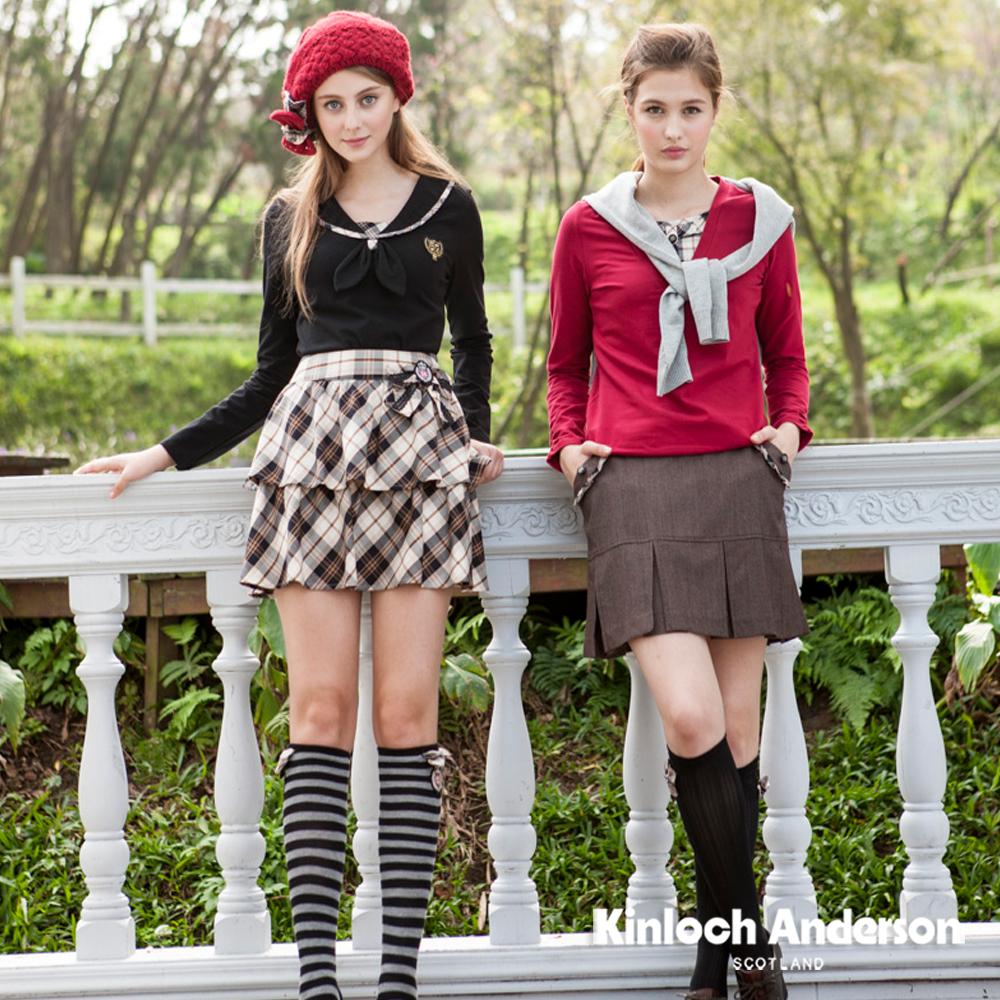 【Kinloch Anderson 金安德森女裝】暗條紋荷葉下活褶短裙