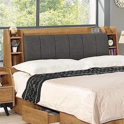 文創集 歌倫時尚5尺棉麻布雙人床頭箱(不含床底)-151.5x29x96cm