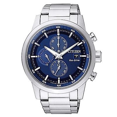 CITIZEN 光動能質感三眼計時手錶(CA0610-52L)-藍X銀/43mm