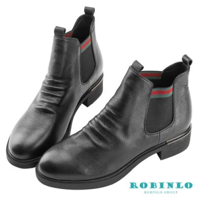 Robinlo 俐落感鬆緊織帶牛皮短靴 黑色