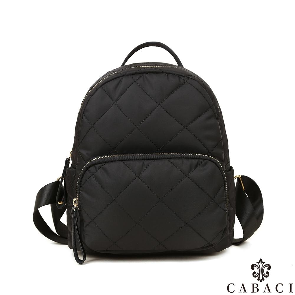 CABACI 經典菱格繡線小巧後背包-黑色