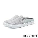 HANNFORT CAMPUS壓紋柔棉微包跟厚底穆勒鞋-女-舒適灰(8H)