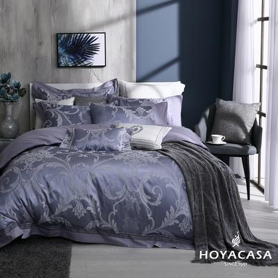 【HOYACASA】加大精緻緹花兩用被床包四件組-紫洛傾城