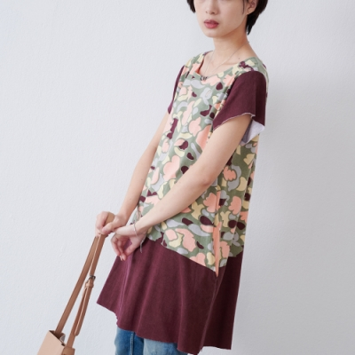 KT 純棉迷彩拼接不收邊洋裝- 紅色