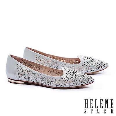 低跟鞋 HELENE SPARK 奢華自信晶鑽設計沖孔尖頭低跟鞋-銀