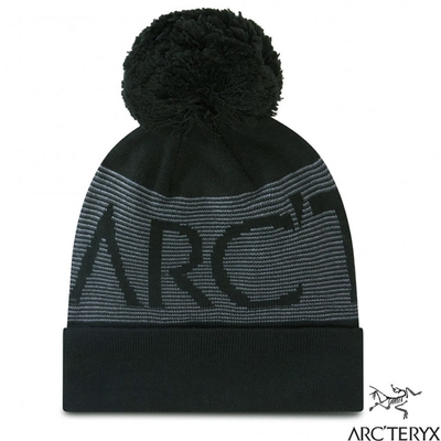 始祖鳥 Mini Stripe Banner 輕量彈性針織時尚毛球帽.保暖帽_黑