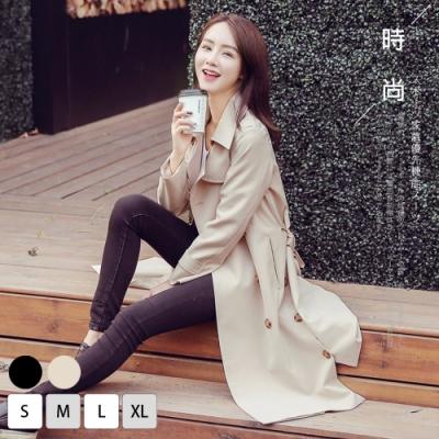 【KISSDIAMOND】米蘭風時尚中長版修身雙排扣風衣外套-KD988