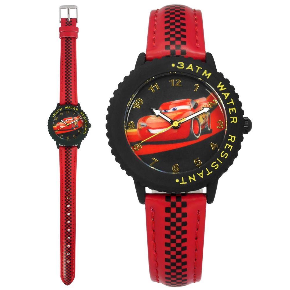 Disney 迪士尼 汽車總動員 閃電麥坤 兒童錶 卡通錶 皮革手錶-黑x紅/32mm