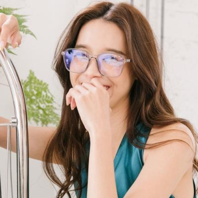 ALEGANT個性玩色復古透視感天際灰TR90輕量幾何方框UV400濾藍光眼鏡