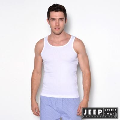 JEEP 極致舒適圓領背心-白色