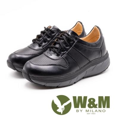 W&M Fit健走系列 繫帶厚底運動休閒女鞋-黑(另有紫)