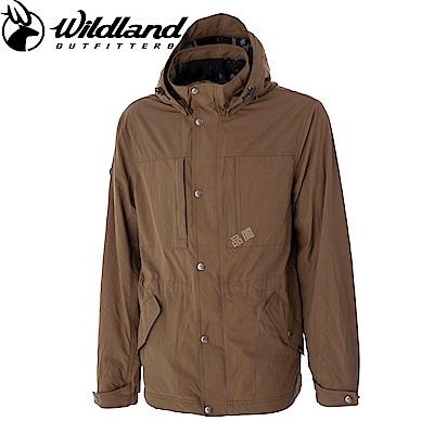 【Wildland 荒野】男Pile裡防風保暖時尚外套卡其