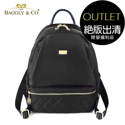 [福利品]【BAGGLY&CO】質感菱格紋真皮尼龍防盜後背包(黑色)(絕版出清)