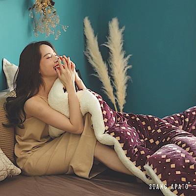 翔仔居家 台灣製 新一代防靜電極緻保暖法蘭絨x羊羔絨 特厚暖暖被【勃根地】
