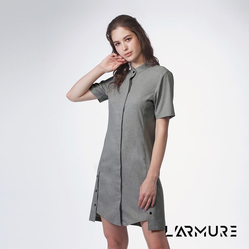 L'ARMURE 女裝 立領 襯衫洋裝 灰色