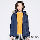 CHICA 森林童話壓縫貉子毛連帽羽絨外套(2色)