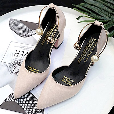 KEITH-WILL時尚鞋館 女人最大微醺傾心粗跟鞋-米白色
