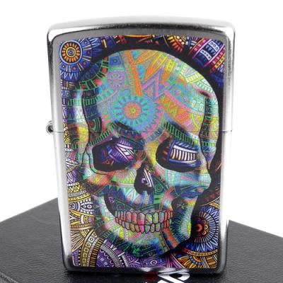ZIPPO 美系~Geometric Skull-幾何骷髏曼陀羅圖案打火機