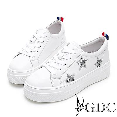 GDC-真皮星星俏皮逗趣素面綁帶百搭厚底休閒鞋-白色