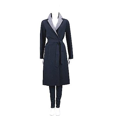 Max Mara-WEEKEND 雙色拼接深藍灰純羊毛綁帶大衣