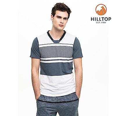 【hilltop山頂鳥】男款吸濕快乾抗菌抗UV條紋T恤S04MC9黑藍/白