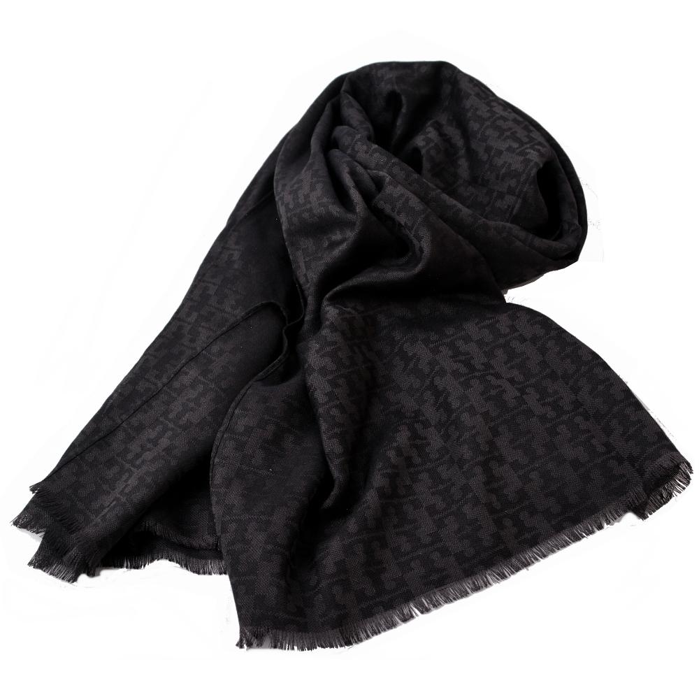 TORY BURCH MOSAIC LOGO 流蘇寬版披肩式薄圍巾-黑x灰