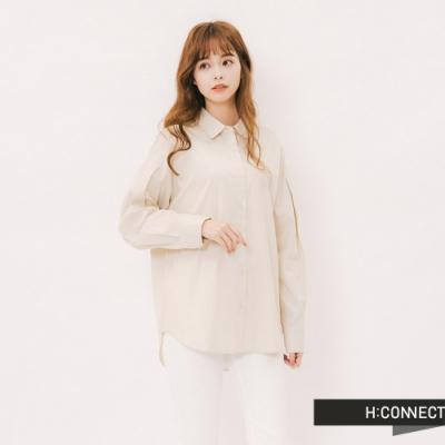 H:CONNECT 韓國品牌 女裝 - 打摺造型素面襯衫-卡其
