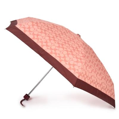 COACH 經典滿版C LOGO圖案折疊晴雨傘-淺粉/酒紅