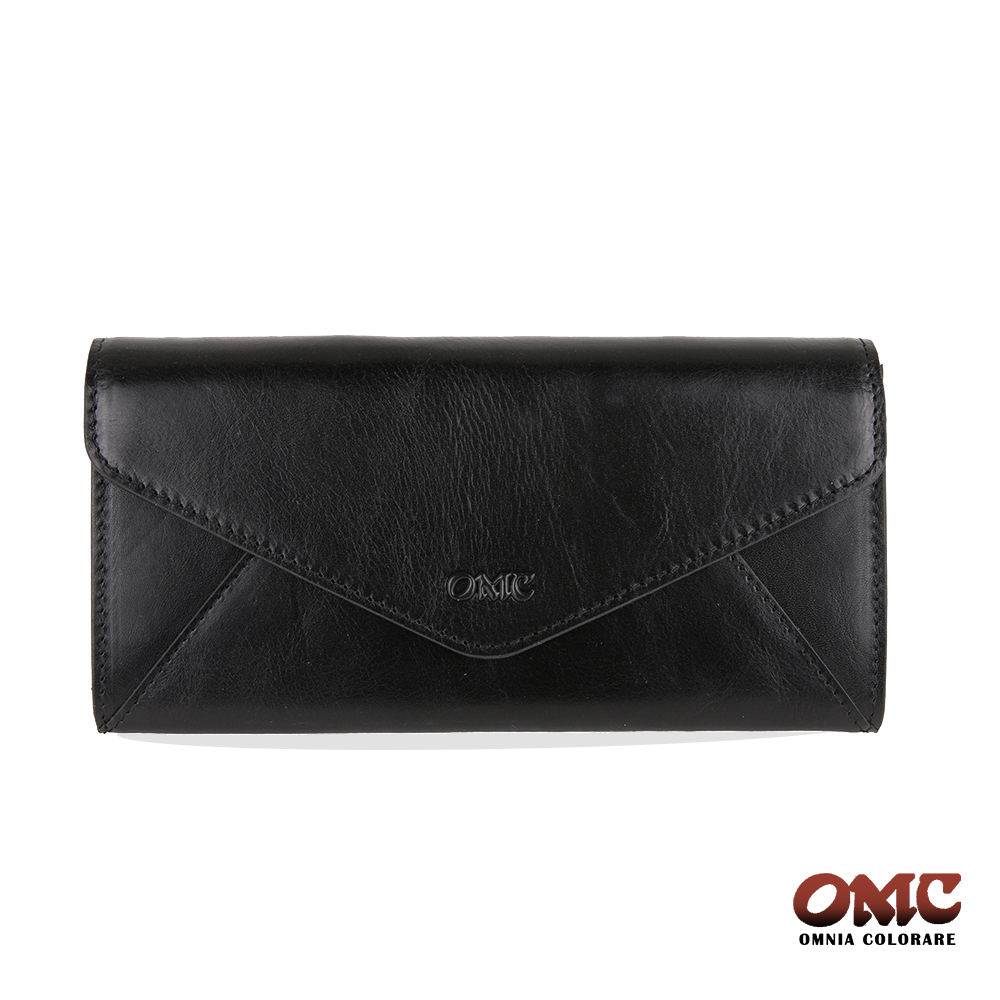 OMC 進口牛皮-信封型16卡後拉鏈袋長夾-黑色