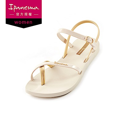 IPANEMA FASHION SAND.VII系列 純色交叉細帶涼鞋-米色